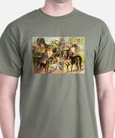 Dog Group From Antique Art T-Shirt