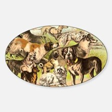 Dog Group From Antique Art Oval Decal