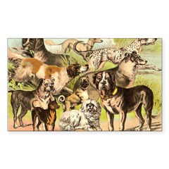 Dog Group From Antique Art Rectangle Decal
