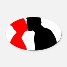 Kissing Couple Oval Car Magnet