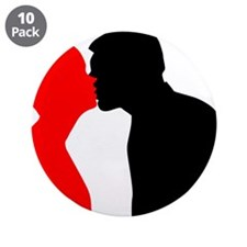 "Kissing Couple 3.5"" Button (10 pack)"