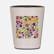 Cute Flower Girly Retro Colorful Floral Shot Glass