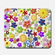Cute Flower Girly Retro Colorful Floral Mousepad