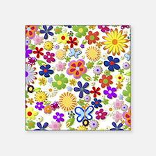 "Cute Flower Girly Retro Col Square Sticker 3"" x 3"""