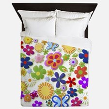 Cute Flower Girly Retro Colorful Flora Queen Duvet
