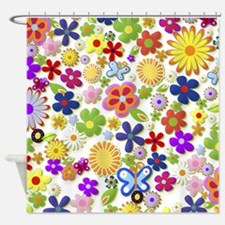 Cute Flower Girly Retro Colorful Fl Shower Curtain