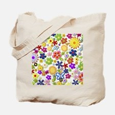 Cute Flower Girly Retro Colorful Floral Tote Bag