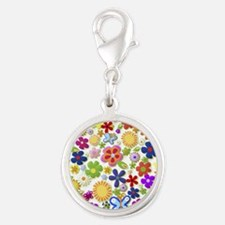 Cute Flower Girly Retro Colorf Silver Round Charm