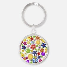 Cute Flower Girly Retro Colorful Fl Round Keychain