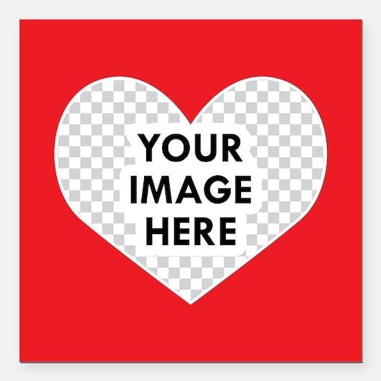 "CUSTOM Heart Photo Frame Square Car Magnet 3"" x 3"""