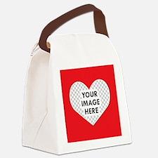 CUSTOM Heart Photo Frame Canvas Lunch Bag