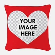 CUSTOM Heart Photo Frame Woven Throw Pillow
