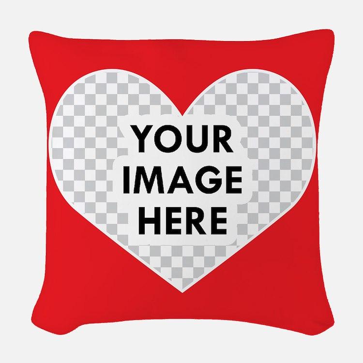 CUSTOM Heart Photo Frame Woven Throw Pillow