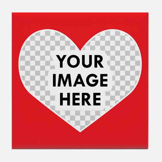 CUSTOM Heart Photo Frame Tile Coaster