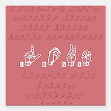 "Love Sign Language Square Car Magnet 3"" x 3"""