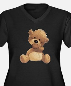 Hugs Bear Women's Plus Size V-Neck Dark T-Shirt