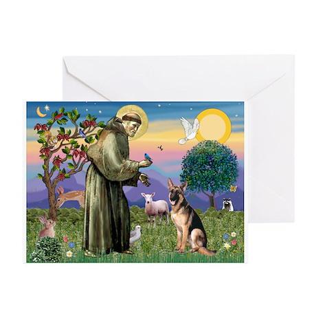 St Francis & G-Shepherd #2 Greeting Cards (Pk of 2