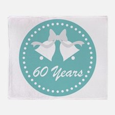 60th Anniversary Wedding Bells Throw Blanket