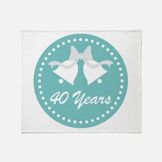 40th Anniversary Wedding Bells Throw Blanket