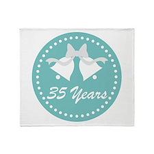 35th Anniversary Wedding Bells Throw Blanket