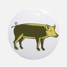 Tamworth Pig Side Woodcut Ornament (Round)