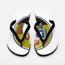 Businessman Video Conference Retro Flip Flops
