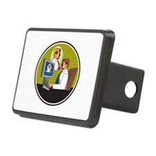 Businessman Video Conference Retro Hitch Cover