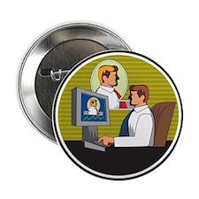 """Businessman Video Conference Retro 2.25"""" Button (1"""