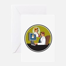 Businessman Video Conference Retro Greeting Cards