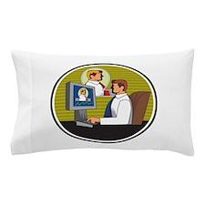 Businessman Video Conference Retro Pillow Case