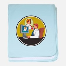Businessman Video Conference Retro baby blanket