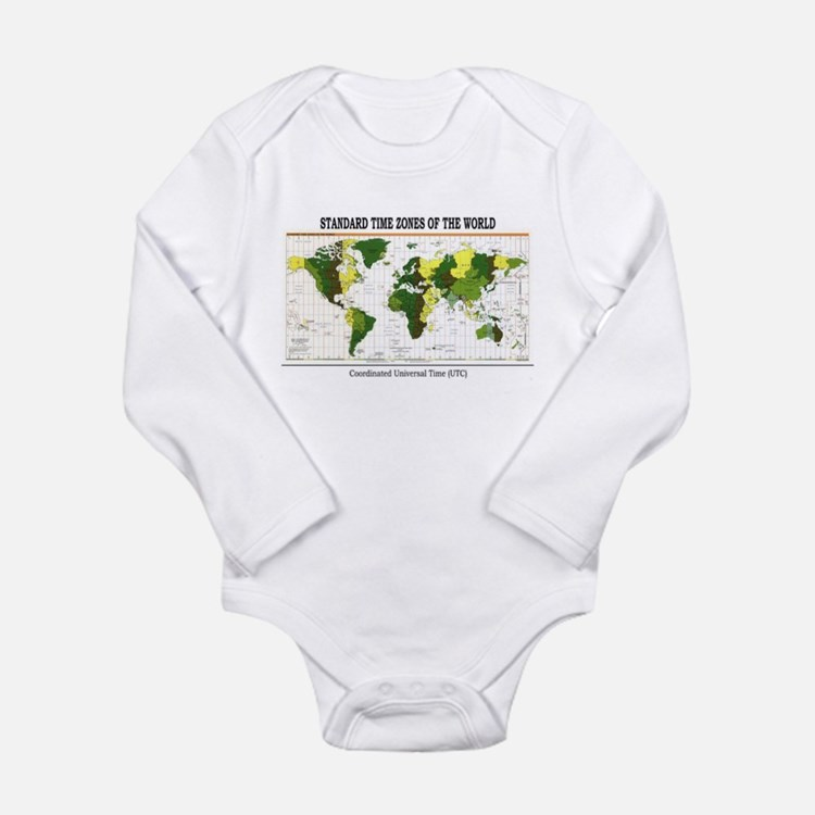 Cute Time zone Long Sleeve Infant Bodysuit