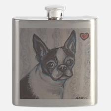 Cute Boston terrier valentine Flask