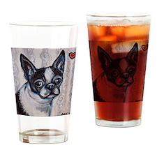 Cute Boston terrier valentine Drinking Glass
