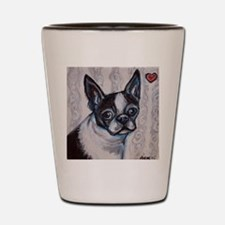 Cute Boston terrier valentine Shot Glass
