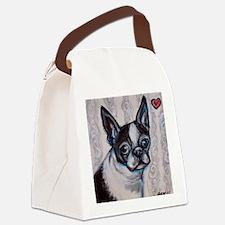 Cute Boston terrier valentine Canvas Lunch Bag