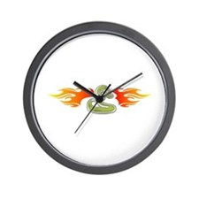 Tribal Snake and Flames Design Wall Clock