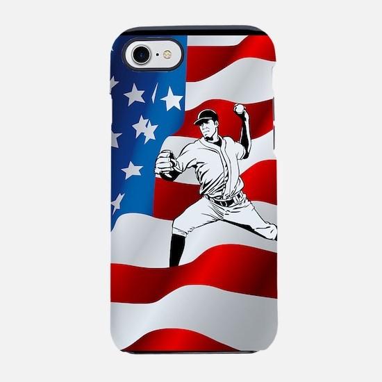 Baseball Player On American Fl iPhone 7 Tough Case