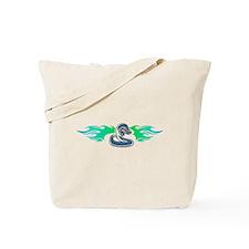 Blue Tribal Snake & Flames Design Tote Bag