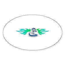 Blue Tribal Snake & Flames Design Oval Decal