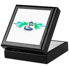 Blue Tribal Snake & Flames Design Keepsake Box