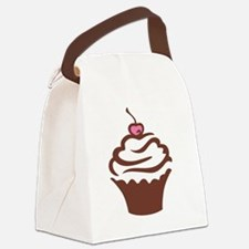 Cupcake pink and chocolate Canvas Lunch Bag