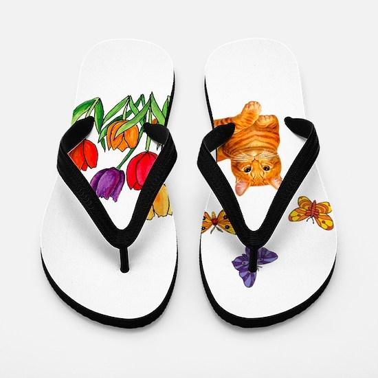 Orange Cat In Tulips Flip Flops