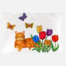 Orange Cat In Tulips Pillow Case