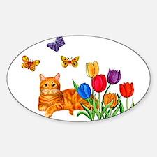 Orange Cat In Tulips Decal