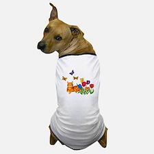 Orange Cat In Tulips Dog T-Shirt