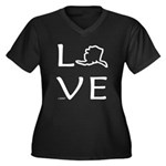 Love Alaska Women's Plus Size V-Neck Dark T-Shirt