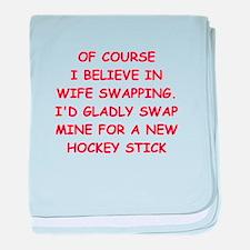 hockey joke baby blanket
