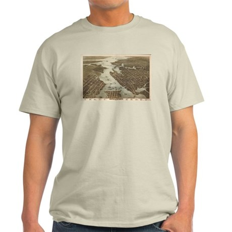 vintage map of norfolk and portsmouth va light t shirt