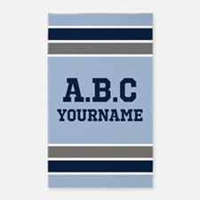Blue and Gray Jersey Stripes Personalized Area Rug